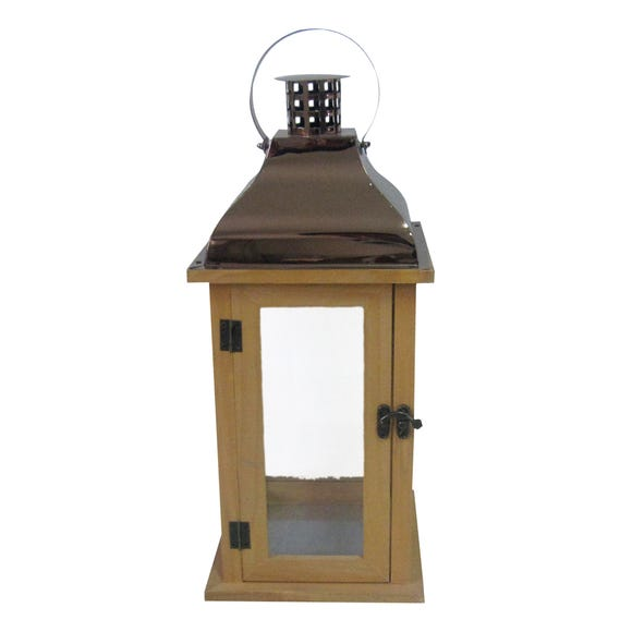 Copper Topped Wooden Lantern Brown
