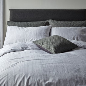 Jasper Woven Grey Duvet Cover and Pillowcase Set