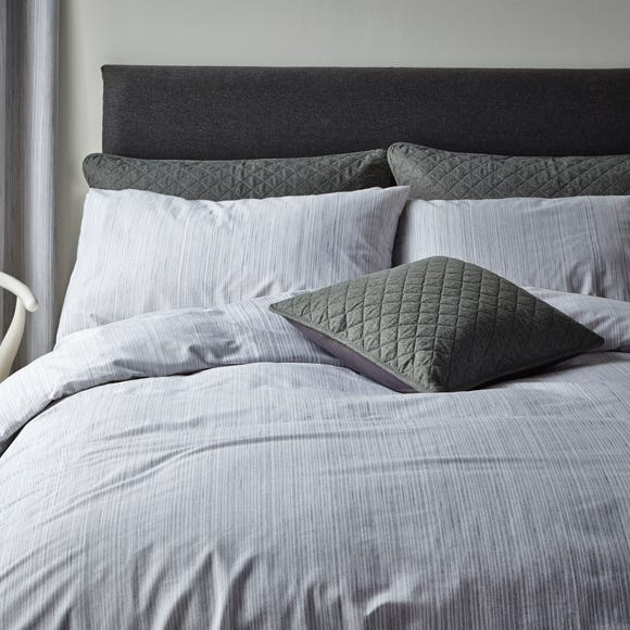 Jasper Woven Grey Duvet Cover and Pillowcase Set  undefined