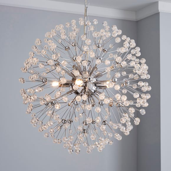Serena 4 Light Jewel Chrome Ceiling Fitting Silver