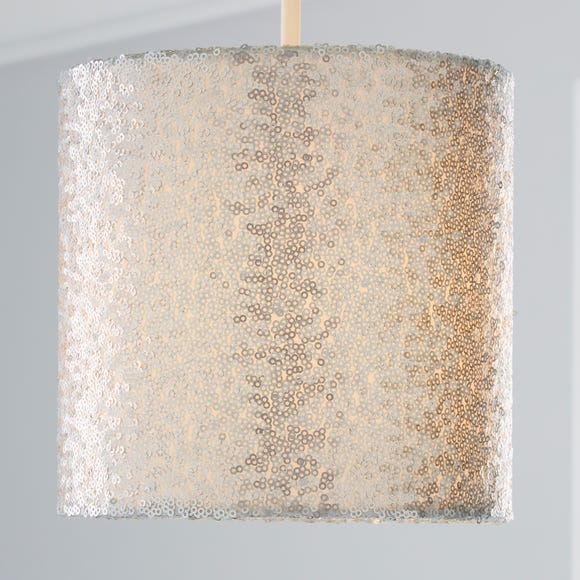 Sequin 19cm Cylinder Silver Shade Silver