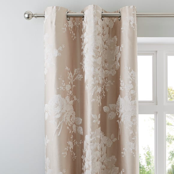 Laura Natural Jacquard Thermal Eyelet Curtains  undefined