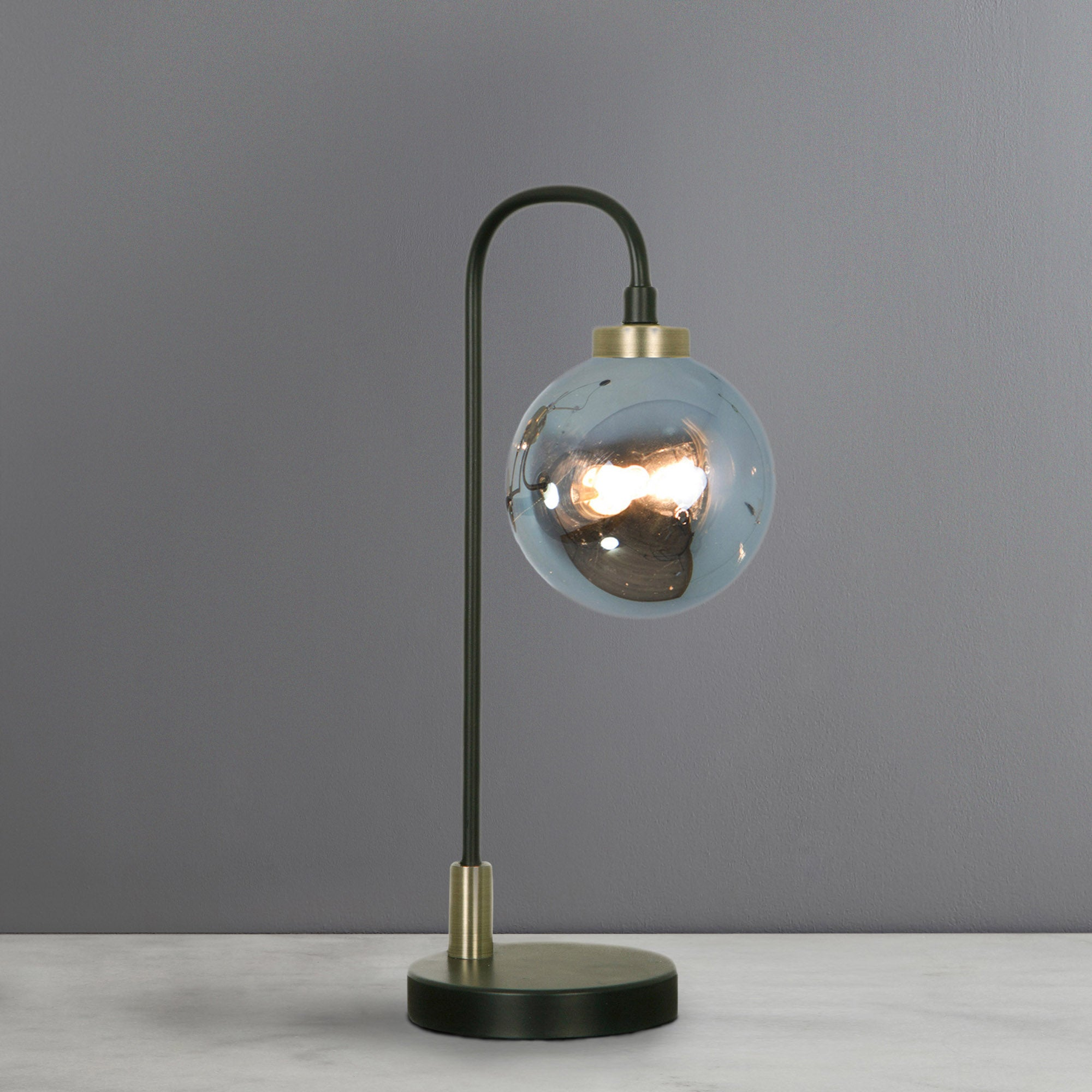 Tanner Black and Smoked Glass Table Lamp Black
