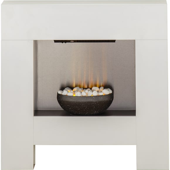 Cubist Electric Fireplace Suite White