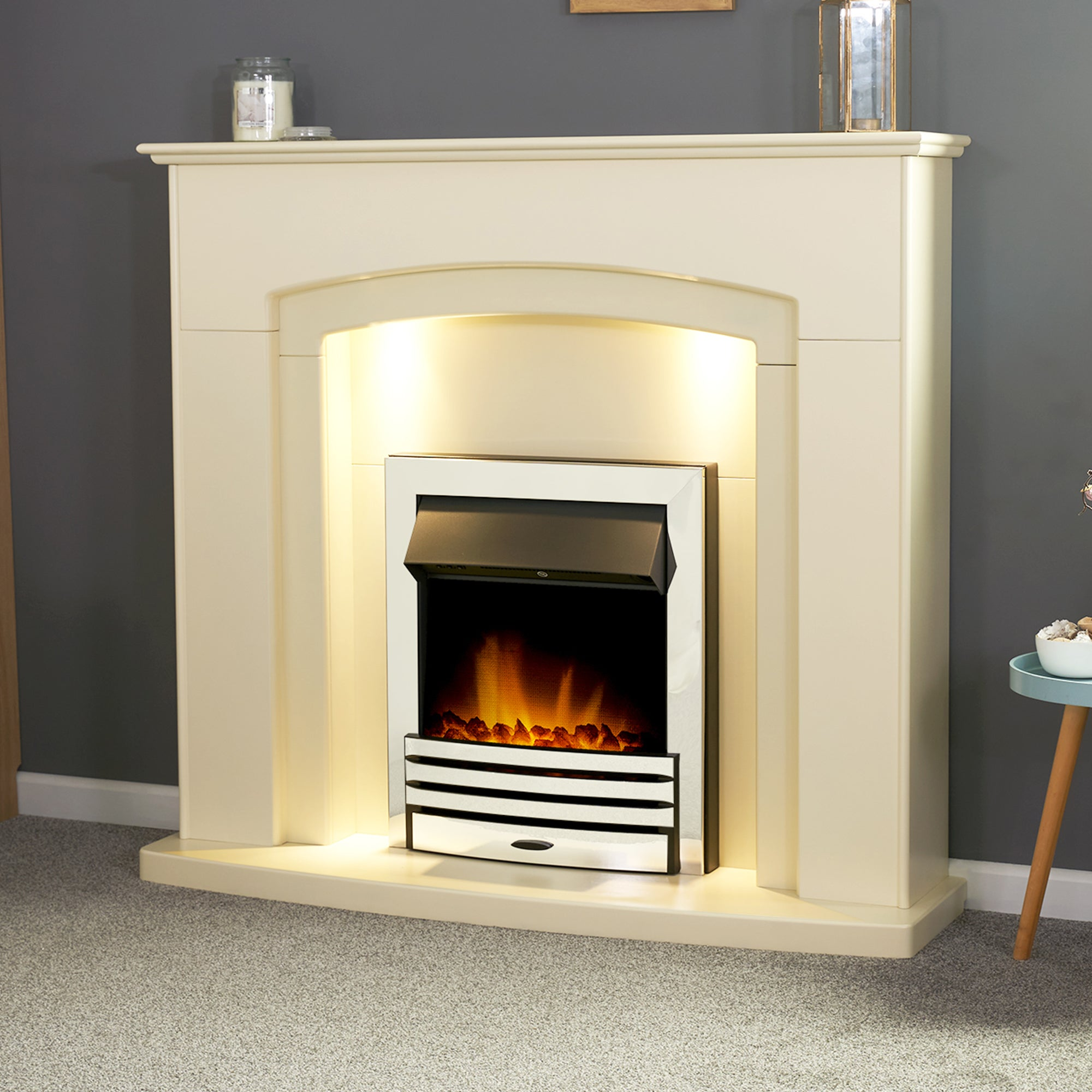 Falmouth Stone Effect Fireplace Suite with Eclipse Chrome Electric Fire Cream (Natural)