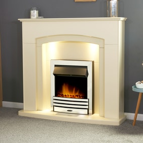 Falmouth Stone Effect Fireplace Suite with Eclipse Chrome Electric Fire