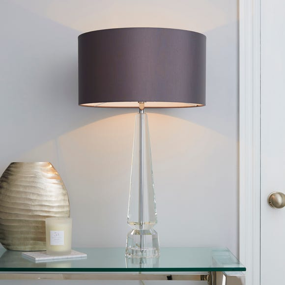 5A Belgravia Column Glass Table Lamp Grey