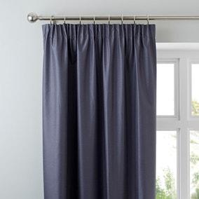 Nova Charcoal Blackout Pencil Pleat Curtains