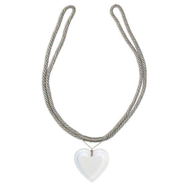 Acrylic Heart Tieback Warm Grey
