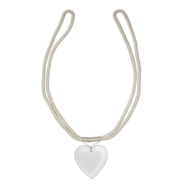 Acrylic Heart Tieback Cream