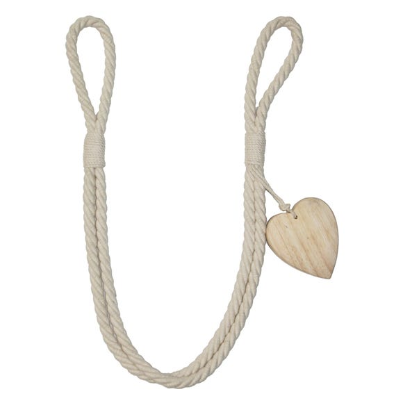 Wooden Heart Rope Tieback Natural