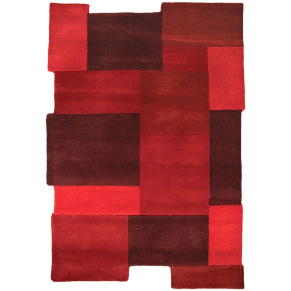 Abstract Collage Rug Red undefined