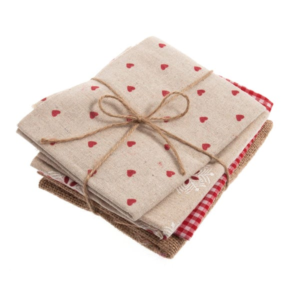 Pack of 4 Red Fat Quarters Red