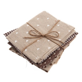 Pack of 4 Brown Fat Quarters