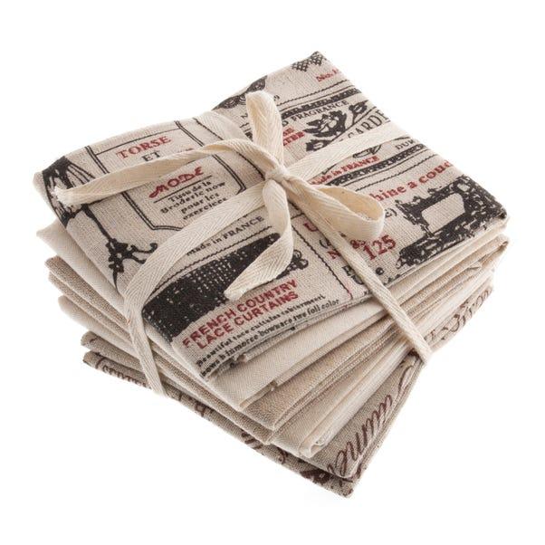 Pack of 5 Natural Printed Fat Quarters Natural