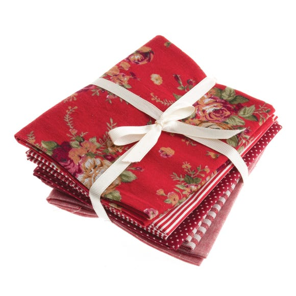 Pack of 5 Printed Red Fat Quarters Red