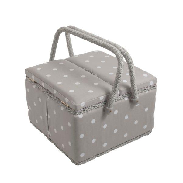 Dotty Large Grey Twin Lidded Sewing Box Grey