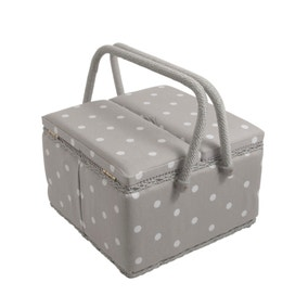 Dotty Large Grey Twin Lidded Sewing Box
