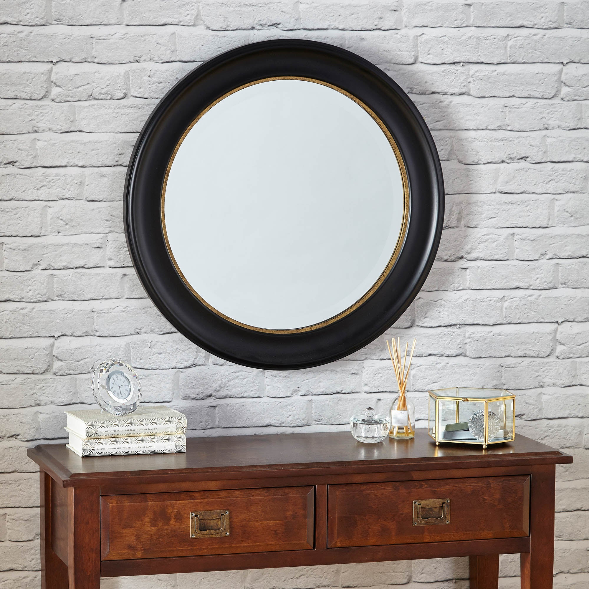 Click to view product details and reviews for Dorma Antique Round Wall Mirror 70cm Black Black.