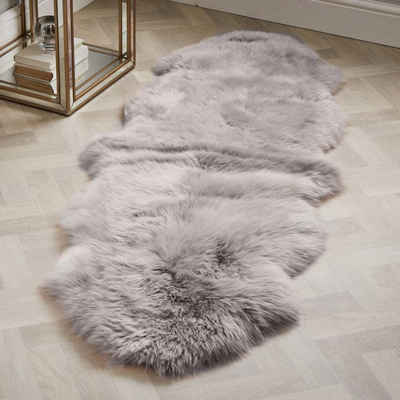 Double Pelt Sheepskin Rug Sheepskin Grey