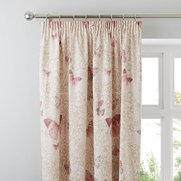 Botanica Butterfly Blush Pencil Pleat Curtains Blush (Pink) undefined