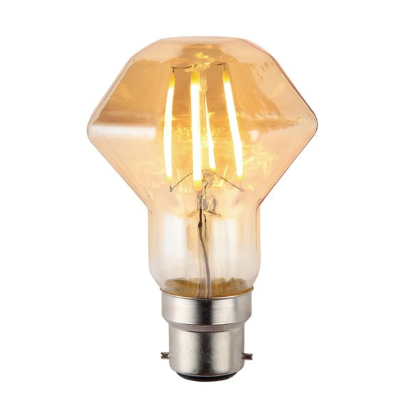 Bertie 4 Watt BC ZSH LED Retro Facet Dimmable Bulb Light Brown
