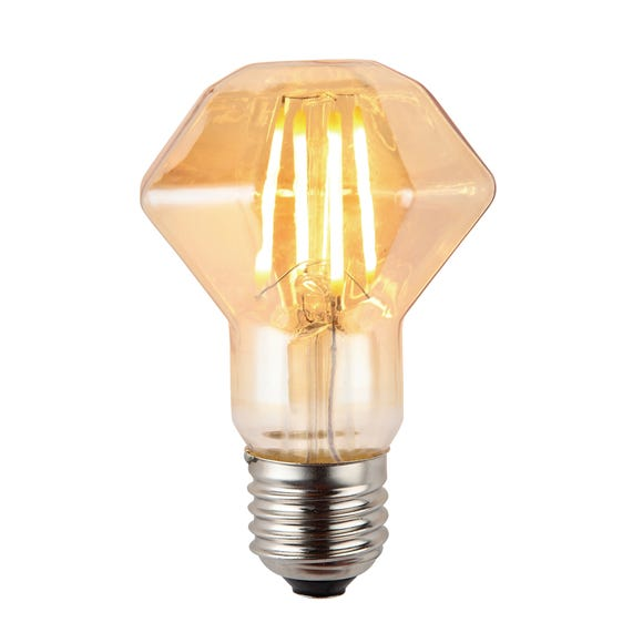 Bertie 4 Watt ES ZSH LED Retro Facet Dimmable Bulb Light Brown