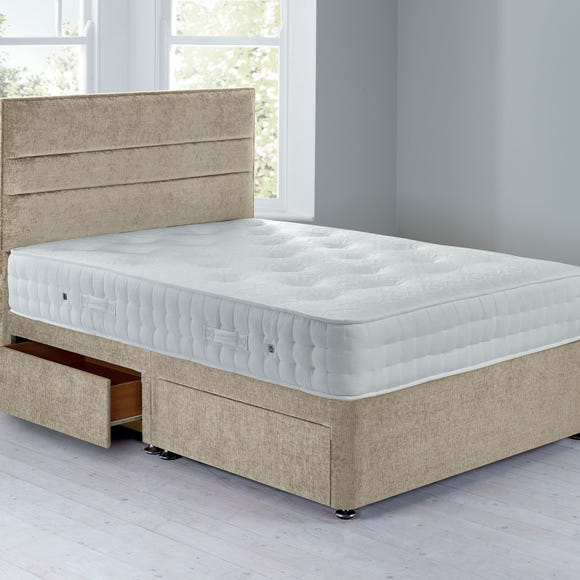 Havana Sprung Edge Divan Set - 4 Drawer Crushed Velvet Pearl undefined