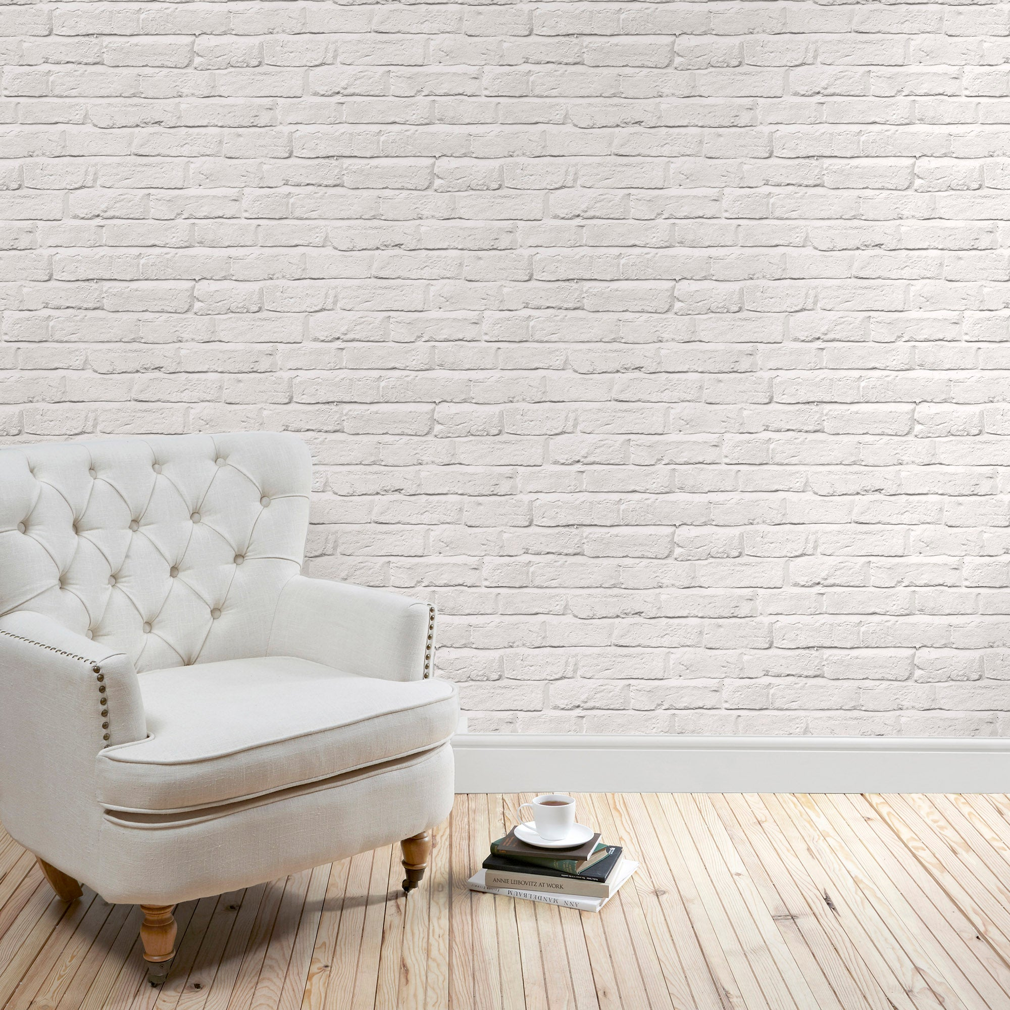 Click to view product details and reviews for White Brick Wallpaper White.