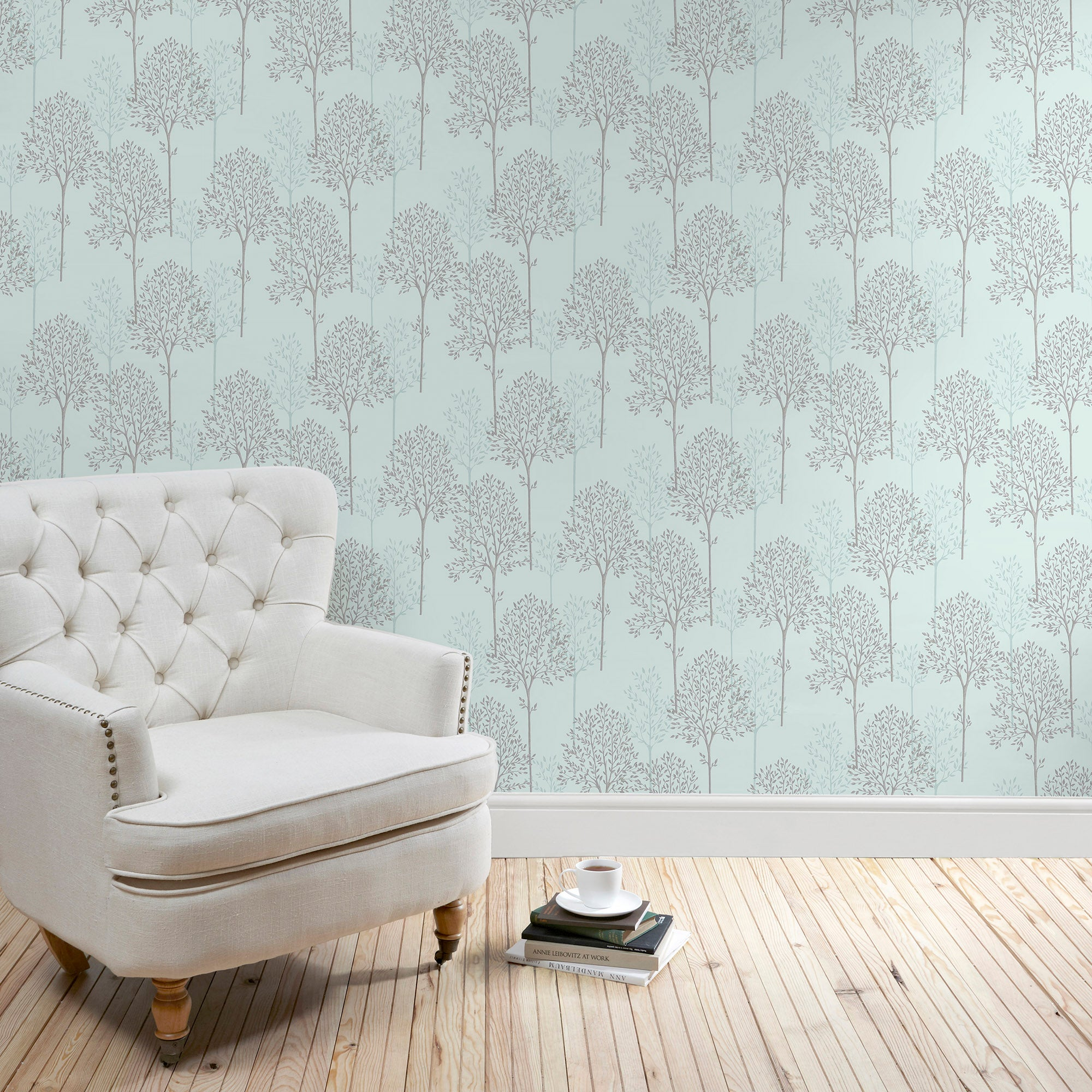 Click to view product details and reviews for Duck Egg Spriggy Trees Wallpaper Duck Egg Blue.
