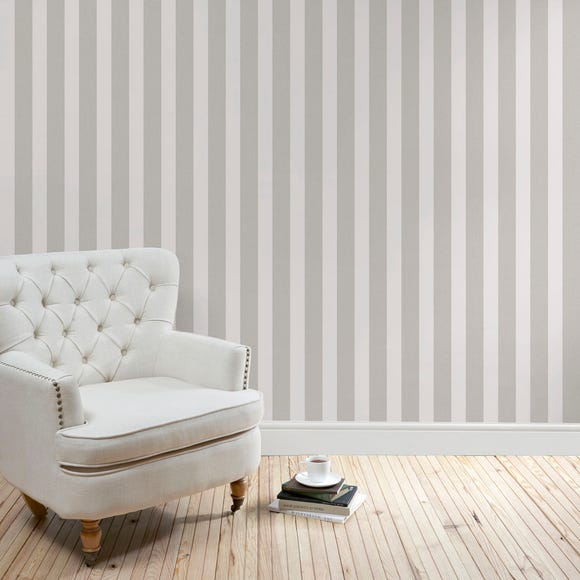 Heritage Grey Stripe Wallpaper Grey