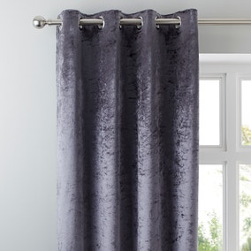 Monroe Crushed Velour Charcoal Eyelet Curtains