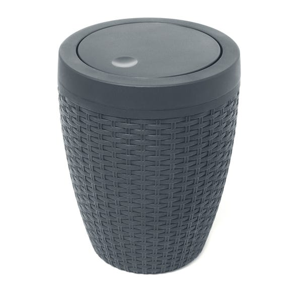 Addis Rattan Charcoal Bathroom Bin Charcoal