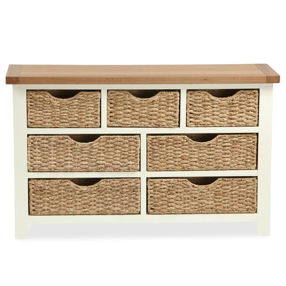 Wilby Cream 7 Drawer Chest with Baskets Cream (Natural)