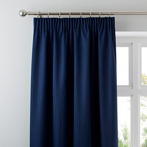 Solar Navy Blackout Pencil Pleat Curtains  undefined
