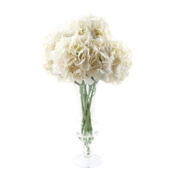 Dorma Artificial Hydrangea Arrangement Cream in Glass Vase 63cm Cream