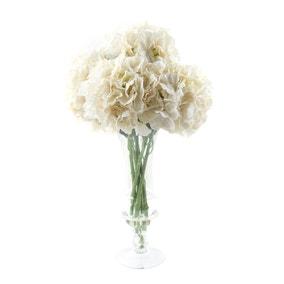 Dorma Artificial Hydrangea Arrangement Cream in Glass Vase 63cm