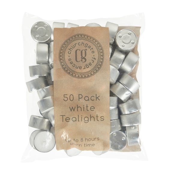 Pack of 50 White Tealights White