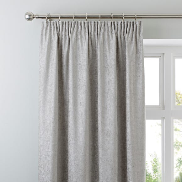 Chenille Silver Pencil Pleat Curtains Silver undefined