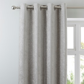 Chenille Silver Eyelet Curtains