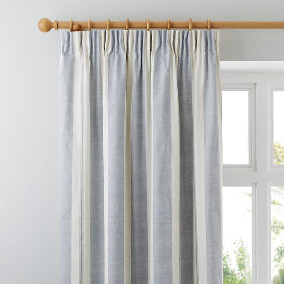 Padstow Blue Pencil Pleat Curtains Blue undefined