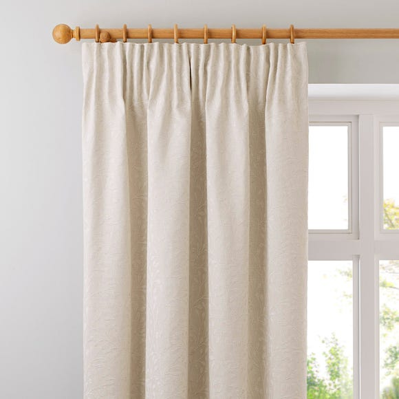 Willow Ivory Pencil Pleat Curtains Pearl (Ivory) undefined