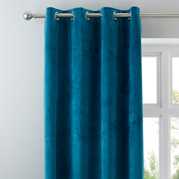 Ashford Teal Velour Eyelet Curtains Teal (Blue) undefined