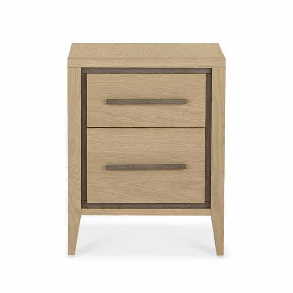 Mason Oak 2 Drawer Bedside Table Oak (Brown)
