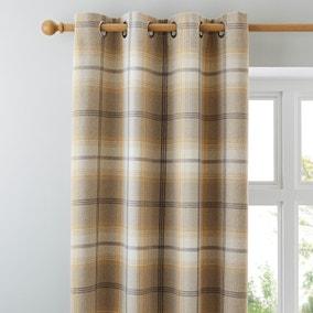 Highland Check Ochre Eyelet Curtains