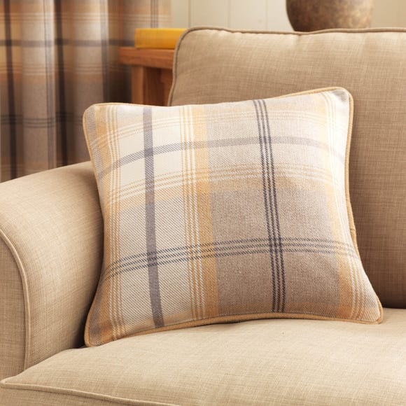 Highland Check Ochre Cushion Ochre