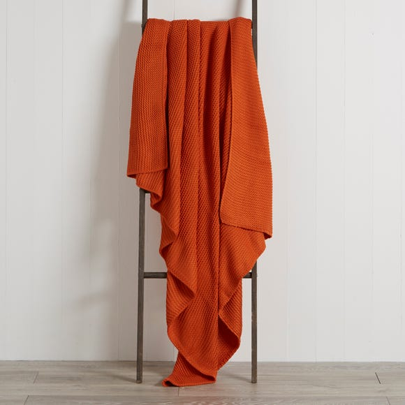 Chunky Knit Breckon Orange Throw Orange undefined