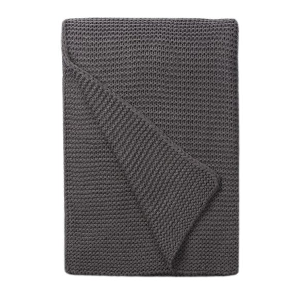 Charcoal Chunky Knit Breckon 130cm x 180cm Throw Charcoal (Grey)