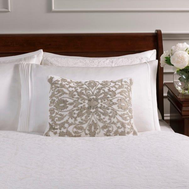 Dorma Charlbury Rectangular Cushion White