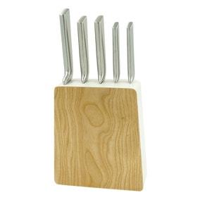 Elements White Ash 5 Piece Knife Block